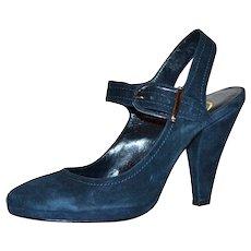 Circa 1970s Delman Designer Navy Blue Suede Leather Big Buckle Platform Ladies' Heels ~ Size 7.5M