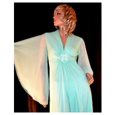 c1970s Mint Green Sheer Chiffon Butterfly Sleeve Beaded Maxi Formal Evening Gown