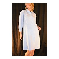 Circa 1970s Serbin ~ Blue & White-Striped Collar Dress