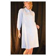 Circa 1970s Serbin ~ Blue & White-Striped Collar Dress