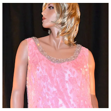 1960/70s Stavropoulos ~ Pink Chiffon & Chenille Beaded Gown