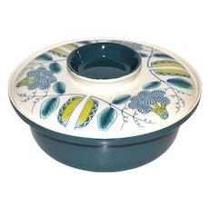 Poole Pottery Mid-Century Modern 2-Pc Atomic Design Blue & White Ceramic Casserole Serving Dish w/ Lid