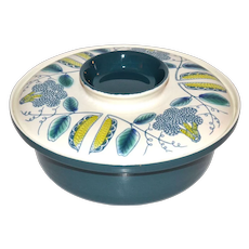 Poole Pottery Mid-Century Modern 2-Pc Atomic Design Blue & White Ceramic Casserole Serving Dish w/ Lid