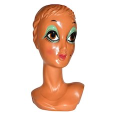 Circa 1960s Big Brown Eye Twiggy Biba Mannequin Bust Display