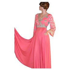 1970s Emilio Pucci Saks Fifth Ave Coral Pink Psychedelic Signature Maxi Dress