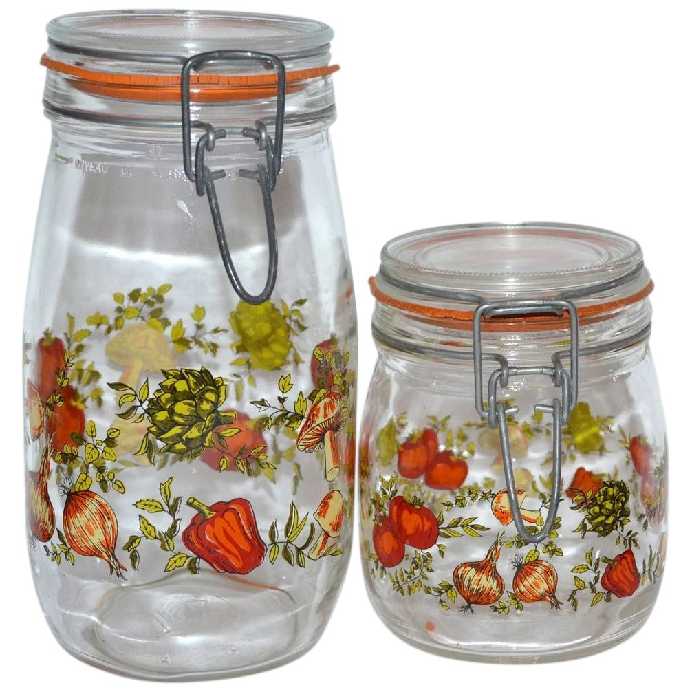 1970s set of 2 glass kitchen canister jars ~ france : kitsch & couture   ruby lane