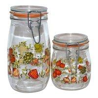 1970s Set of 2 Glass Kitchen Canister Jars ~ France