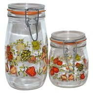 1970s Set of 2 Glass Kitchen Canister Jars ~ France
