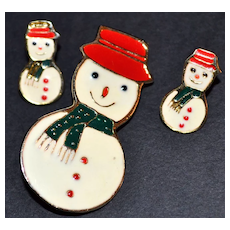 Signed Enamel Snowman Earrings & Pin/Brooch