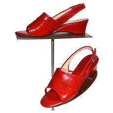 Circa 1970s Daniel Green Cherry Red Slip-On Wedge Heels