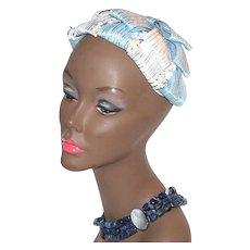 Circa 1940s Baby Blue & White Flower Hair Topper Hat