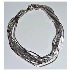 Italian Sterling Silver Multi-Strand Herringbone Bracelet