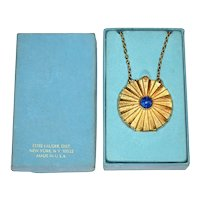 1960s Estee Lauder ~ Youth Dew Solid Perfume Faux Lapis Locket Necklace