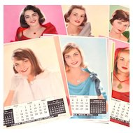 Circa 1965 Timken Co. Complete Set of 12 Huge 16x20 Beautiful Calendar Girl Posters