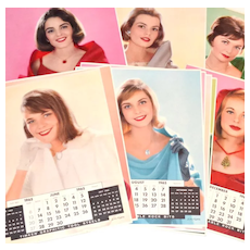Circa 1965 Timken Co. Complete Set of 12 Huge 16x20 Beautiful Calendar Girl Posters