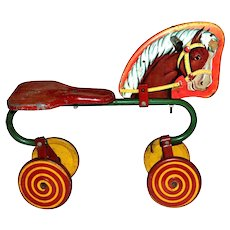 Circa 1940s Charming Lithograph Horse Cycle w/ Red & Yellow Lollipop Wheels