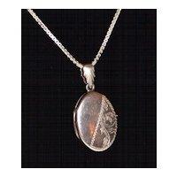 1950s Etched Sterling Locket Pendant Necklace