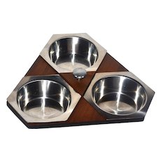 Circa 1950s Rostfritt :Rotating Stainless Steel & Wood Lazy Susan