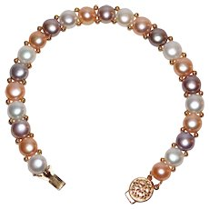 Signed 14K Gold Pink, Gray & White Coin Pearl Bracelet