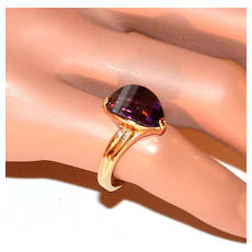 1970s Faceted Deep Purple Glass Goldtone Ring