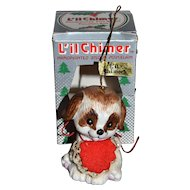 Jasco Li'l Chimer Pup Bisque Christmas Bell Ornament w/ Box