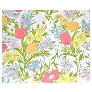 Circa 1960s Dan River  Floral Bouquet Dantrel No Iron Twin Flat Sheet
