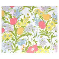 Circa 1960s Dan River  Floral Bouquet Dantrel No Iron Twin Flat Sheet