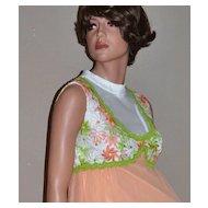 Circa 1960s ILGWU Long Peach Chiffon w/ Embroidery Evening Gown