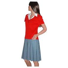 Circa 1960s Fred Rothschild  Red Vest & Blue-Striped Dress