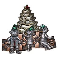 KC Signed Enamel & Triple Metal Christmas Elf & Tree Pin/Brooch