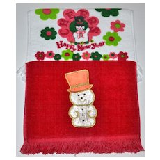 Set of 2 Christmas Kitchen/Bath Fringe Towels