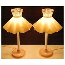 Set of 2 Pink Milk Glass Candlewick Style Lamps