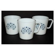 1983 Pyrex Summer Impressions ~ Set of 3 Milk Glass Mugs