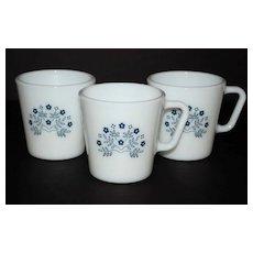 1983 Pyrex Summer Impressions ~ Set of 3 Milk Glass Mugs
