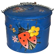 Distressed Red Ladybug & Flowers Painted Blue Metal Chain Pail w/ Original Lid