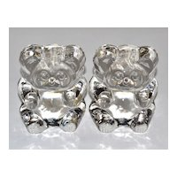 Lenox Imperial ~ Set of 2 Glass Teddy Bear Bookends