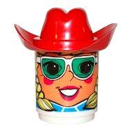 c1970s Deka Blonde Girl Mug w/ Red Cowboy Hat