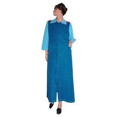 Vanity Fair Turquoise Blue & Hot Pink Velour Lounge Robe