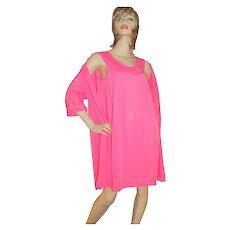 1960s Lorraine 2-Pc Hot Pink Nylon Nightgown & Robe