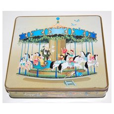 1984 F de Gail Signed Children on Carousel & Fun Times Candy Tin