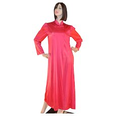 Circa 1970s Formfit Asian-Inspired Cherry Red Nightgown or Robe