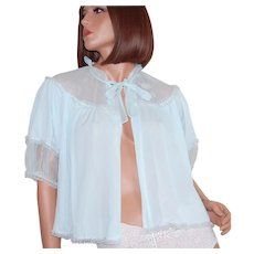 1960s Shadowline Baby Blue Chiffon & Lace Bed Jacket