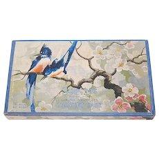 c1930s Schrafft's Candy Co. Bluebird & Cherry Blossom Art Chocolate / Trinket Box