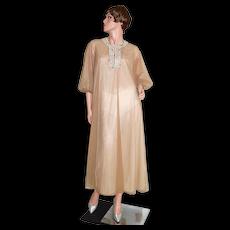 c1960s Vassarette Labeled Chocolate Brown Double Chiffon Caftan Hostess Gown