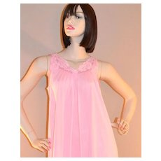 1960s Shadowline ~ Powder Pink Nylon & Lace Nightgown