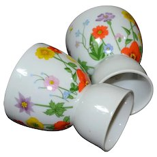 Lefton Pair of Handpainted Flowers on White Porcelain Egg Cups