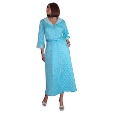 1950s Quilted Powder Blue & Lace Belted Maxi Robe