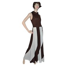Circa 1960s Fred Rothschild ILGWU Chocolate Brown & Cream White Maxi Dress