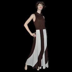 Circa 1960s Fred Rothschild ILGWU Chocolate Brown & Cream White Maxi Dress