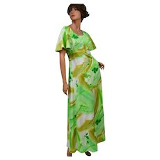 Circa 1970s Hawaii Nei Light Green Floral Maxi Dress